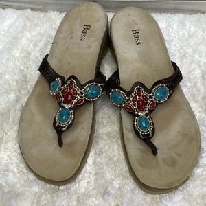 Bass Beaded, Leather Uppers  Wedge Sandals Size 8